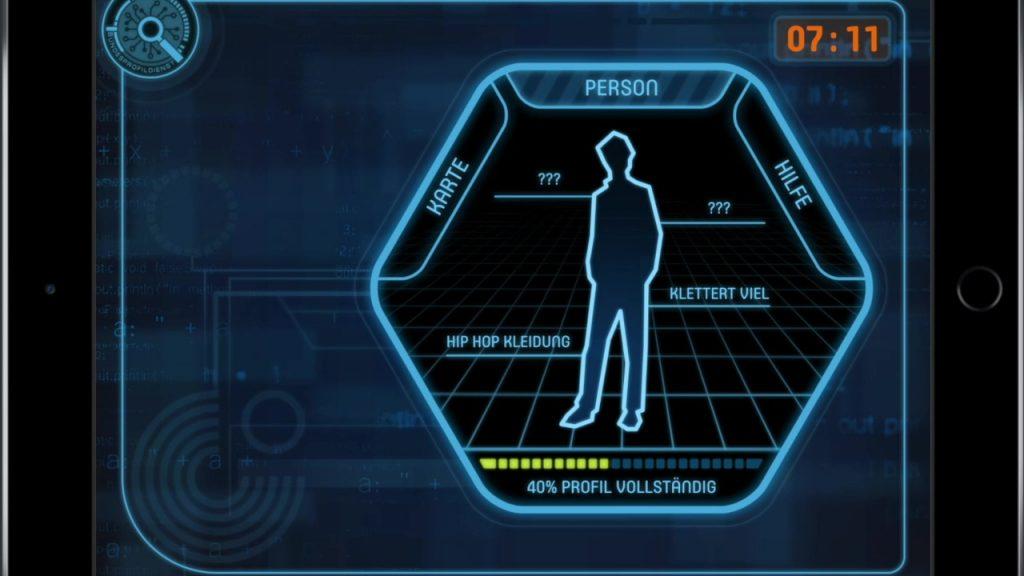 Profilbild eines Hackers mit Merkmalen und Vollständigkeitsbalken