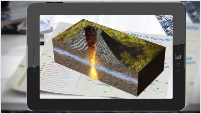 Tablet mit Querschnitt eines Vulkans in 3D