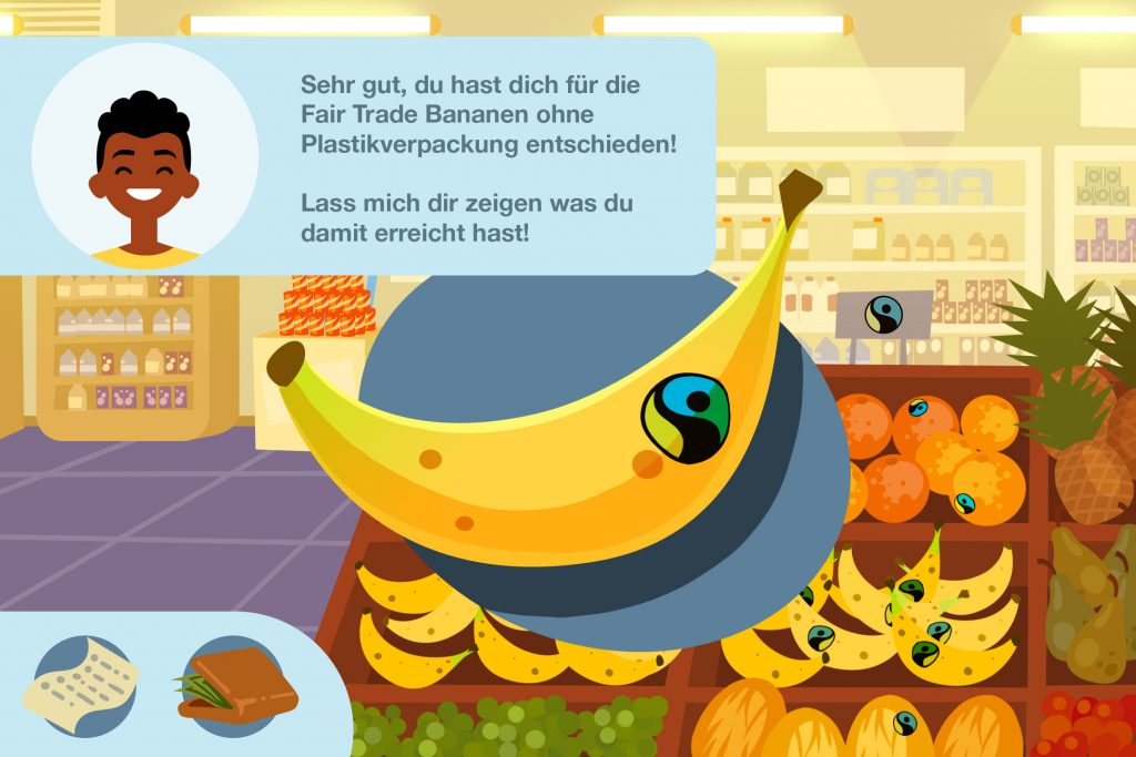 Szene eines digitalen Spiels im Supermarkt mit großer Banane vor Obstregal und Avatar