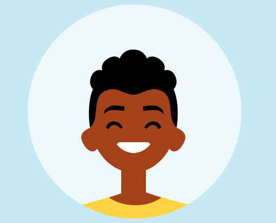 Avatar afrikanischer Junge grinsend im Comicstil mit gelbem T-Shirt