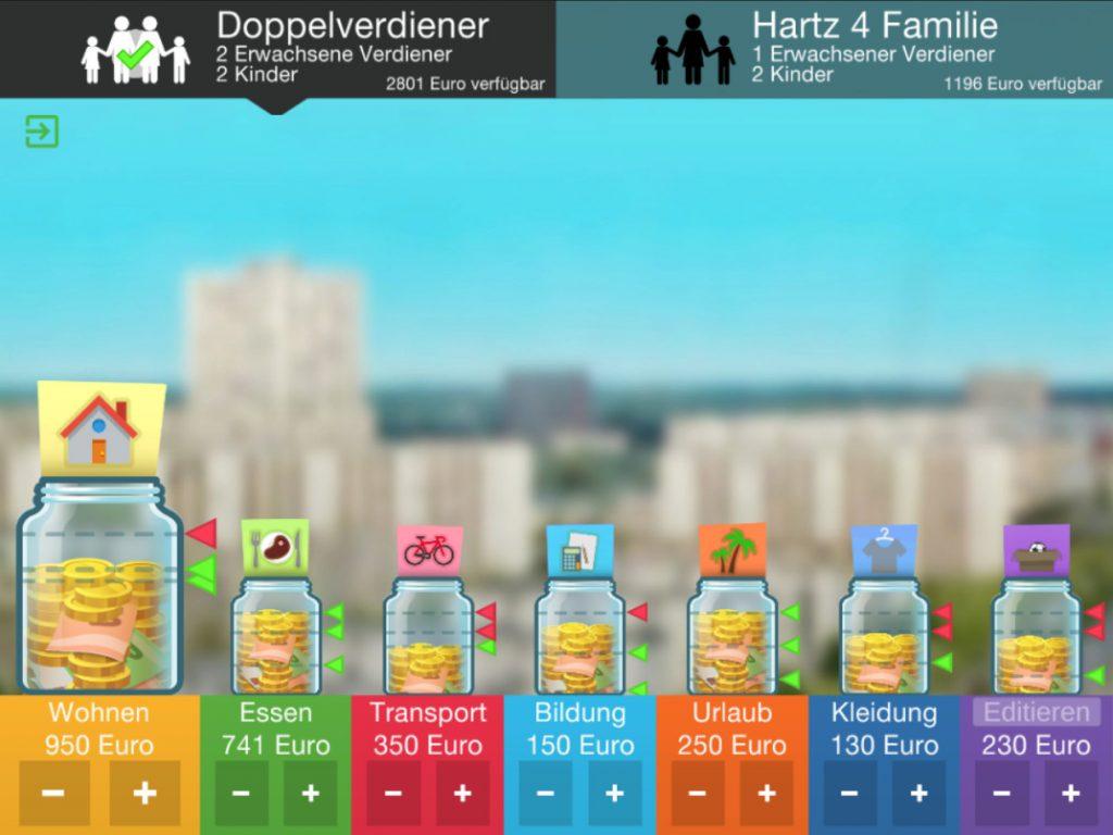 Digitales Game SOS-Kinderdorf Geldtöpfe für Essen Wohnen Bildung usw. sind gefüllt
