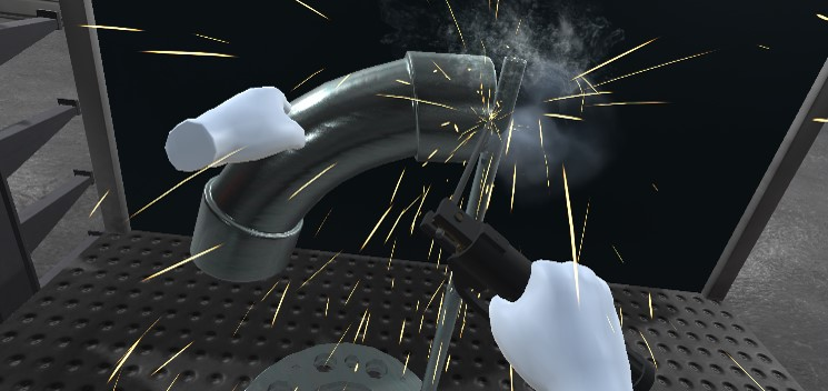 VR-Hände schweißen dickes Rohrstück an Stange
